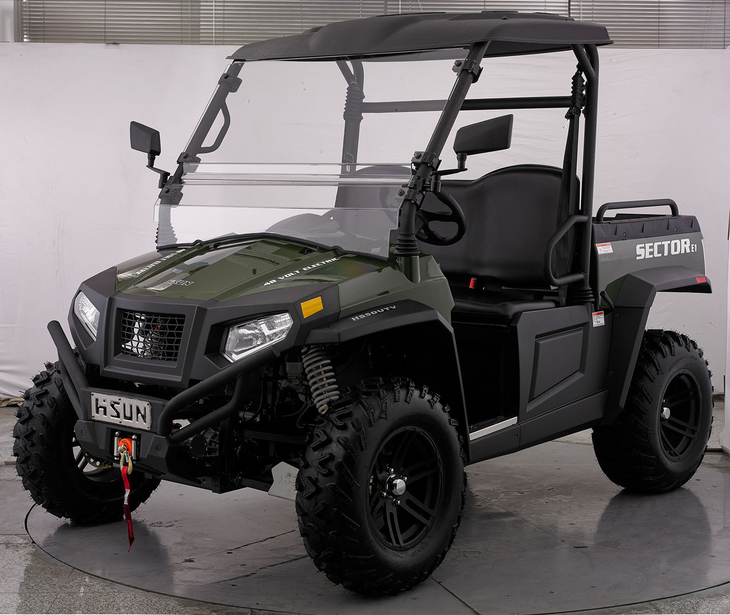 crossfire-e1-electric-atv-green-front-side-1